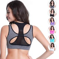 active fake - Professional Sports Bra Women Mesh Fake Two Piece Underwear Hot Sexy Push up Bra Yoga Fitness Vest Workout Running Tank Top Bra