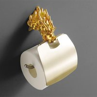 Wholesale luxury Wall Mount gold dragon design paper box roll holder toilet gold paper holder tissue box Bathroom Accessories MB A