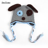 baby puppy photos - Novelty Grey Puppy Baby Hat Handmade Knit Crochet Baby Boy Girl Animal Dog Hat Kids Earflap Winter Hat Halloween Costume Infant Photo Prop