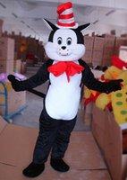 Cheap Adult Cat dans le chapeau Dr. Seuss Mascotte Costume Costumes d'Halloween Fantaisie Costume Costume de fête d'anniversaire Costume