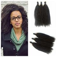 afro bulk - 4a b c Afro Kinky Curly Human Hair Bulk For Braiding inch Peruvian Curly Braiding Hair Extensions