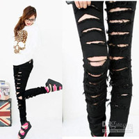 Wholesale Hot style fashion show the black punk rock hole women ripped are skinny jeans s hip hop pants