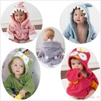 baby hippos - 2015 Baby Infant color Cotton Wicking sleep Robes Owl Shark Hippo Panda Lion Monsters Night robes Bathrobe sleepwear pajamas TOPB3736