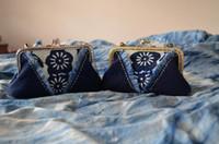 Wholesale Dyeing Handmade Cotton Blue calico Indigo Blue Printing Fabric White Porcelain Cloth Folk Style clasp purse handle bag small
