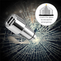 ac a cars - Small Universal Dual Port USB Car Charger Adapter for iPhone bullet safety hammer so suitable for a mobile phone