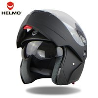 Wholesale Fashion double lens flip up motorcycle helmet motocross full face helmet fit for men women warm moto helmet
