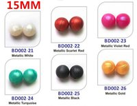 Wholesale 15mm Shimmer Round Bead Silicone DIY Loose Bead Pendant Bead Mommy Silicone Teething Necklace Beads Fits Baby Nursing Necklaces Bracelets
