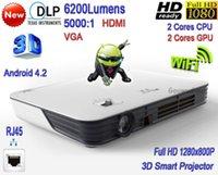 Wholesale 2016 New DLP High Brightness Lumens WiFi Business Projector Full HD P LAN D Smart LED Projector
