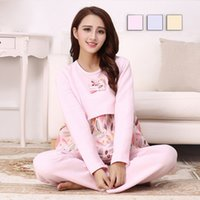Wholesale Popular Maternity Pajama Set Autumn Winter Women Nursing Feeding Sleepwear Cotton Blend Warm Long sleeve Homewear RB0053