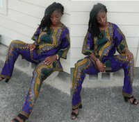 african batik fabrics - 2016 Two Piece Set Java Wax Print Fabric Top and Pants Women Suits Two Piece African Women Clothing Plus Size Brand Custom Suits