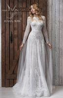 aline dress - Plus Size High Quality Aline Wedding Bridal Gowns Elegant Illusion Neckline Wedding Dress for Wedding Party HL322