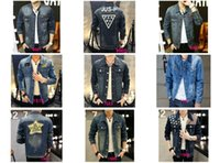 bead hole sizes - 2016 New Brand Men s Printed Denim Jacket Ripped Holes Slim Fit Vintage Coat Qutwear Jeans clothing Spring Autumn Size M XXXL