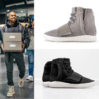 Wholesale Original Kanye West Adidas Yeezy Boost High Top Basketball Shoes For Women Men Yeezys Cheap Sneakers Black Grey Size