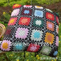 asian pillow covers - 2013 new freeshiping cm square Asian style colorful corchet hook made cotton pillow cover cushion overlay as home decoration