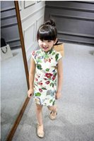 Wholesale Chinoiserie Priting Cotton Linen Cheong sam Dress for Girls years old