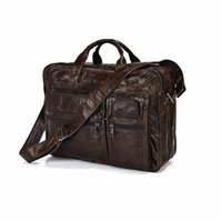 best laptop travel bag - Promotion New Best Gift Genuine Leather Men Messenger Bags Briefcase Portfolio inch Laptop Bag travel bag LI