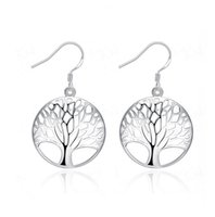 Wholesale 2016 Brand New Silver Plated Life Tree Wedding Charm Earrings Engagement Beautiful Earrings Jewelry Ear Rings