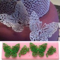 Wholesale 2016 New Butterfly Silicone Fondant Mold Lace Wedding Cake Baking Decorating Tools Mould Party Kitchen Accessories