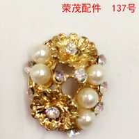 arc disc - 16 MM Pearl DIY arc rhinestone buckle hair accessories flower bracelet charms disc gold alloy pendants for necklace