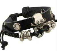 Wholesale Fashion Charm Bracelets Handmade Skull Charm For Men Multilayer Infinity Alloy Beads Wide Black Leather Bracelets Jewelry