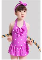 Wholesale Swimwear Girls Lovely Bowknot Swimsuit Children s Suit Cute Girl Bowknot Swimsuit With Caps Summer One piece Swimsuit