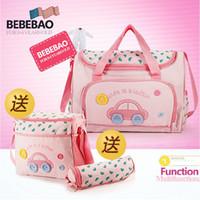 Wholesale 4 Set Cartoon Car Beetle Travel Baby Diaper Bags Waterproof Nappy Bags Multifunctional Changing Messenger Bag Tote Bags