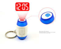 alarm clock flashlight - Mini Laser Time Alarm Projector Clock with Keychain Key Finder Spy Novelty Gadget Flashlight with Gift Boxes Package Fast Shipping