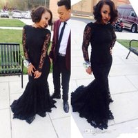 Wholesale 2016 Sexy Long Black Mermaid tarik ediz Lace Evening Dresses Custom Made Black Long Sleeve Prom Party Dresses Plus Size Homecoming Gowns