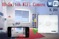Wholesale Wifi Wireless IP P2P x720P HD Spy Wall Switch Plate Camera Motion Detect H DVR Home Security Surveillance Camcorders
