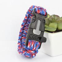 Wholesale 2016 survival gear Seven core umbrella rope Survival Bracelet Survival Bracelet Rope WhistleKits Mountain camping hand woven flint bracelet