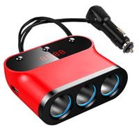 Wholesale Car Charger USB Port Cigarette Lighter Hub Socket Outlets Volt Adapter with LED display For iPhone Samsung and more Smartphones