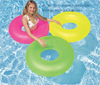 basketballs creativity - Neon Neon swimming laps adult children swim ring life buoy floating ring inflatable swimming laps solid color