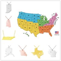 america hearts - USA America States Pendant Map Necklaces With Heart DIY State Pendent Necklace Stainless Steel Jewelry Louisiana Oklahoma State