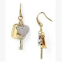 alphabet sheets - NEW letter shaped earrings key accessories gold rectangular zinc alloy sheet tassel earrings heart shaped crystal earrings fashion jewelry