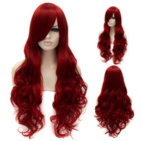 ariel wig - Wine Red Long Hair Heat Resistant Curly Wavy Wig The Little Mermaid Princess Ariel Cosplay Party Wig cm