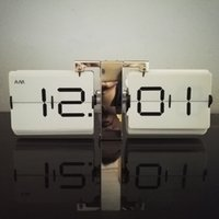 auto wall clocks - 1 set Colors Inch Modern Design Luxury Gold Color Auto Flip Wall Clock For Art Home Living Room Wall Decoration Gift Clock