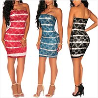 Wholesale 2016 Hot Style Blue Black Red Sexy Clubs Lace Stitching Strapless Dress Strapless Dress With Rose Sexy Backless Dresses B