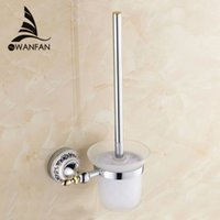 Wholesale Toilet Brush Holder Solid Brass Construction Base Chrome Finish Frosted Glass Cup Bathroom accessories High quality ST