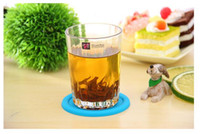 beverage glass lot - 600pcs Silicone cup mat Coffee Placemat Button Coaster Cup mat Mug Glass Beverage Holder Pad Mat