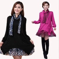 Cheap Dress+Scarf 1Set Plus Size Knitting Shirt Warm Sweater Dress Leopard Womens Tops Kaftan Long Sleeve Loose Dress Autumn Winter