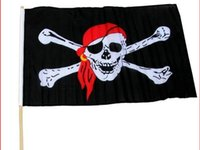 Wholesale Jolly Roger Flag Of Ghost Red kerchief black flag Cosplay Hallowmas Flags Supplies Shipping Free