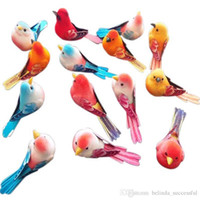 artificial feather birds - High Quality Artificial Foam Feather Small Colorful Love Birds Without Feet With Magnet On The Abdomen Wedding Decoration