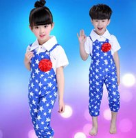 Wholesale Lotus style nursery white Shirt stars bib pants rompers two piece suit modern dance Children s Dancewear Girls Boys Performance Clothes