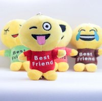 best friends cute - 2016 Newest QQ Expression Emoji Smiley Plush Doll Keychains Cute Cartoon Plush Pendant Keychains Best Friend High Quality