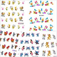 Wholesale 1sheet Fashion Cute Cartoons Designs Water Transfer Stickers Decals Nail Art Tips Decorations Manicure Nail Accessory ND106