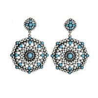 beading jewelry designer - Bohemia White Blue Beading Dangle Earrings Pearls Bead Chandelier Woman Earring Designer Quality Woman Jewelry Accessories Collection