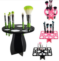 Wholesale New black pink Makeup Brushes Holder Stand Collapsible Air Drying Makeup Brush Organizing Tower Tree Rack Holder Cosmetic Tool