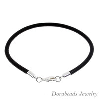Wholesale Silver Plated Lobster Clasp Black Real Leather Bracelets European Bracelets cm sold per of B12840