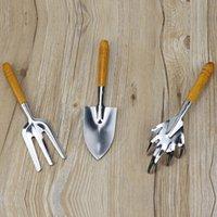 3шт / комплект из нержавеющей стали с деревянной ручкой сада Инструменты Лопата Грабли Лопата Многофункциональный Семья и патио оборудование