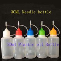 al por mayor botellas cuentagotas punta de la aguja-Botellas de plástico de 30 ml gotero con jugo tapa de la aguja del metal de goma Seguridad de la punta PE e Líquido Vapor ojo E-Liquide botellas 500pcs